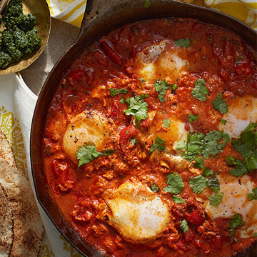 Spicy Tomato-Poached Eggs