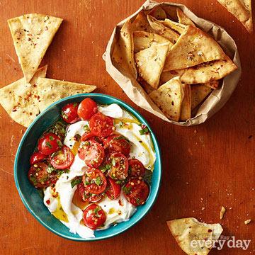 Tomato-Yogurt Dip with Baked Pita Chips