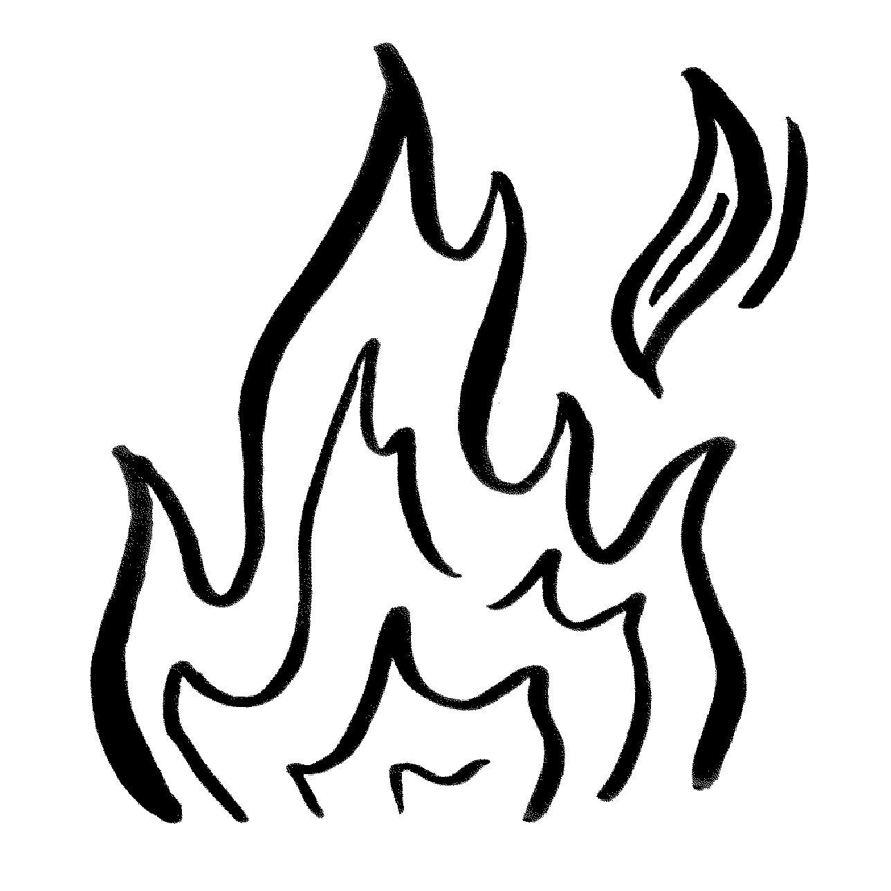 black and white fire flame illustration