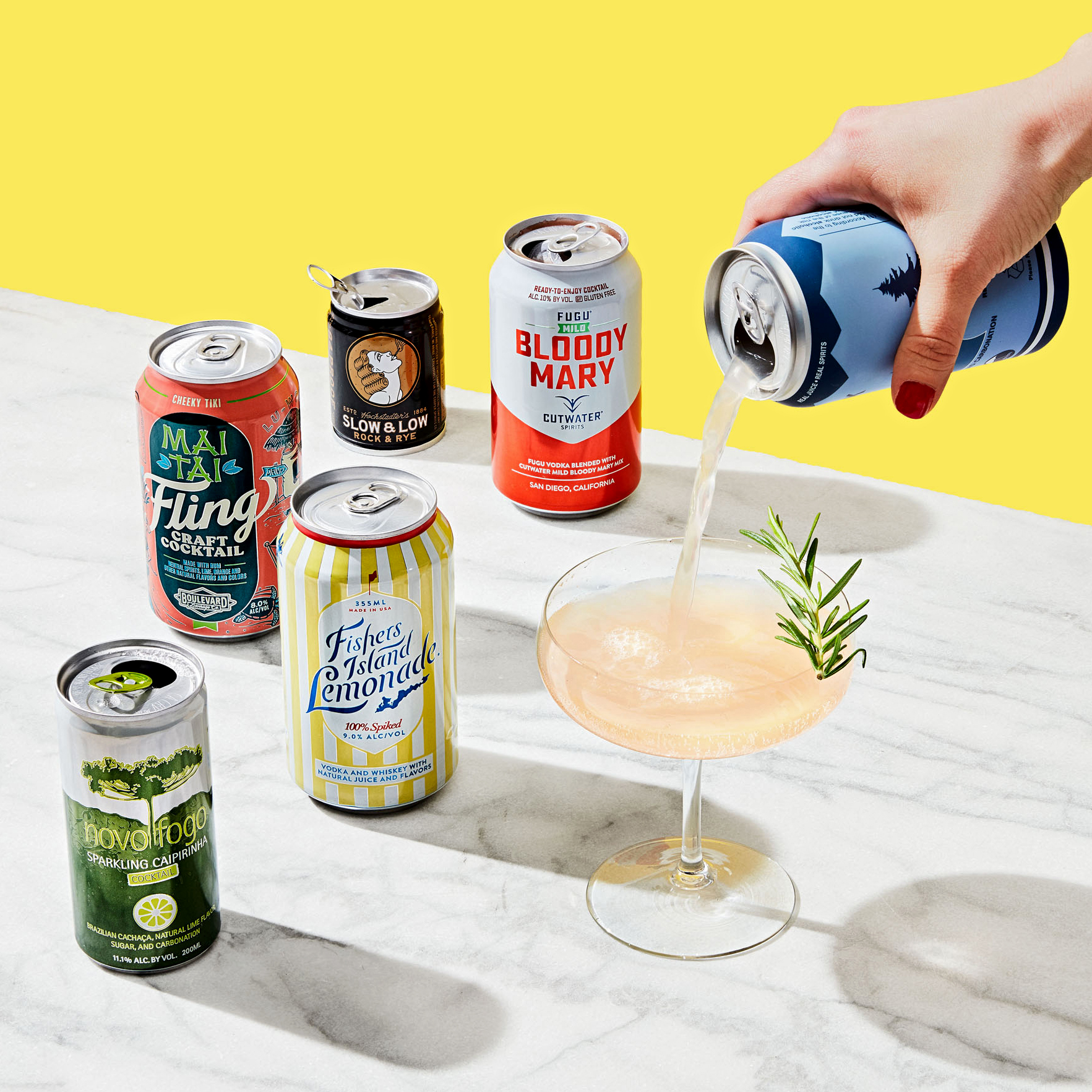 various canned cocktails on countertop