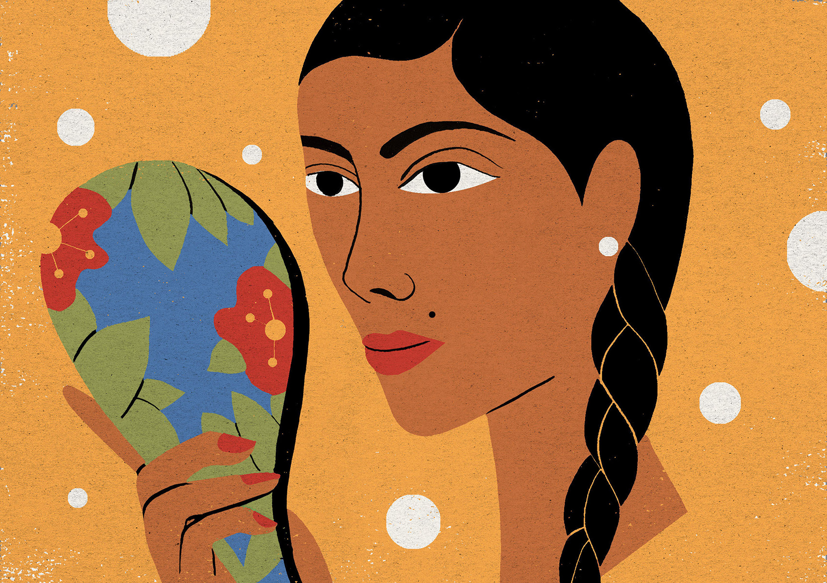 illustration of woman holding flower patterned mirror