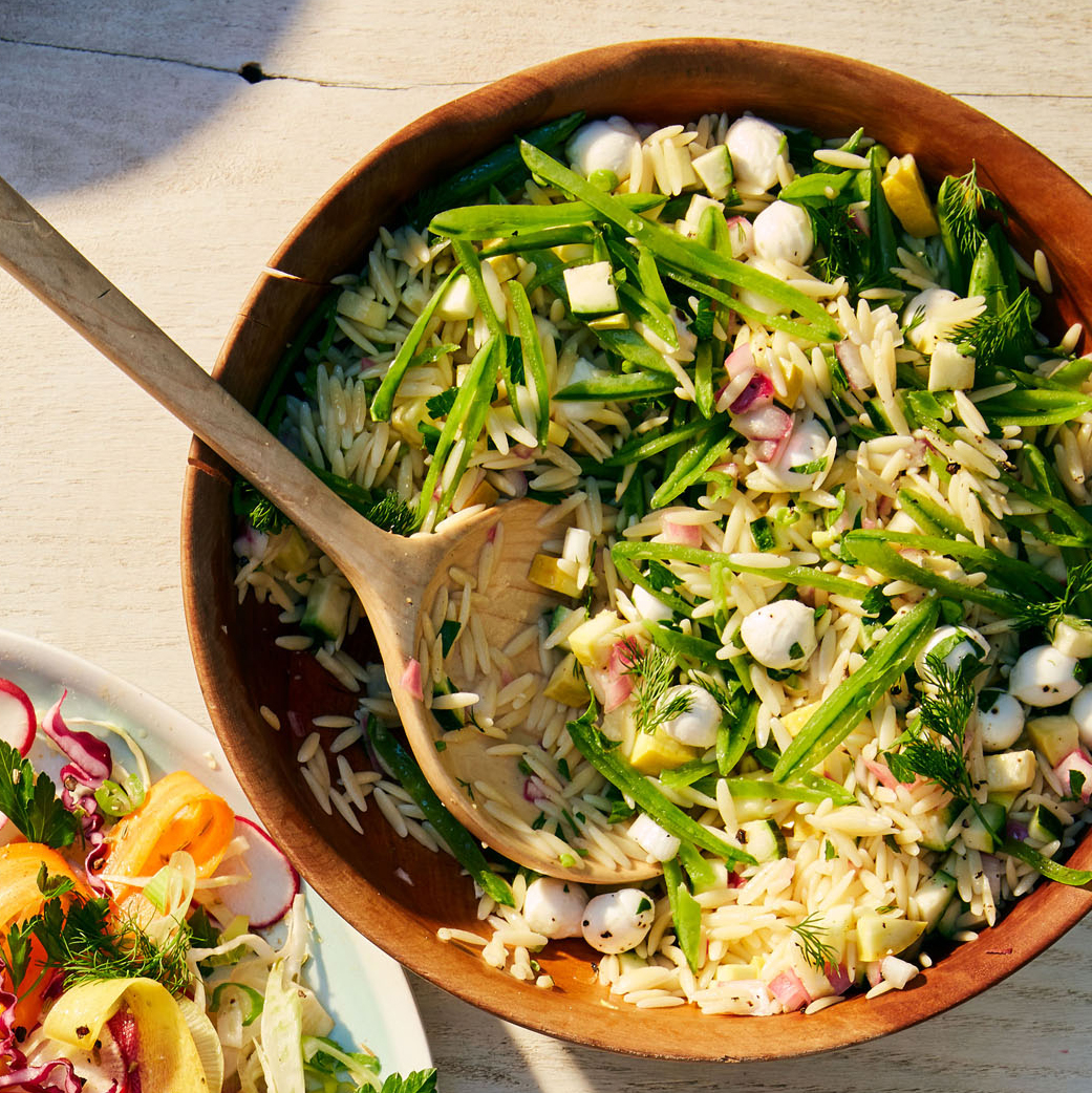 orzo salad with pickled onions and summer squash