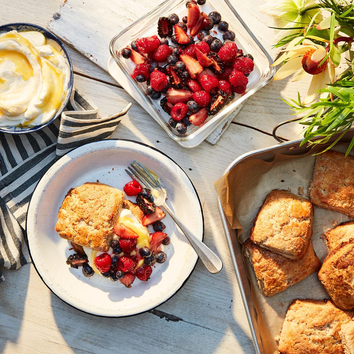 sheet pan shortcakes with mixed berries and lemon cream