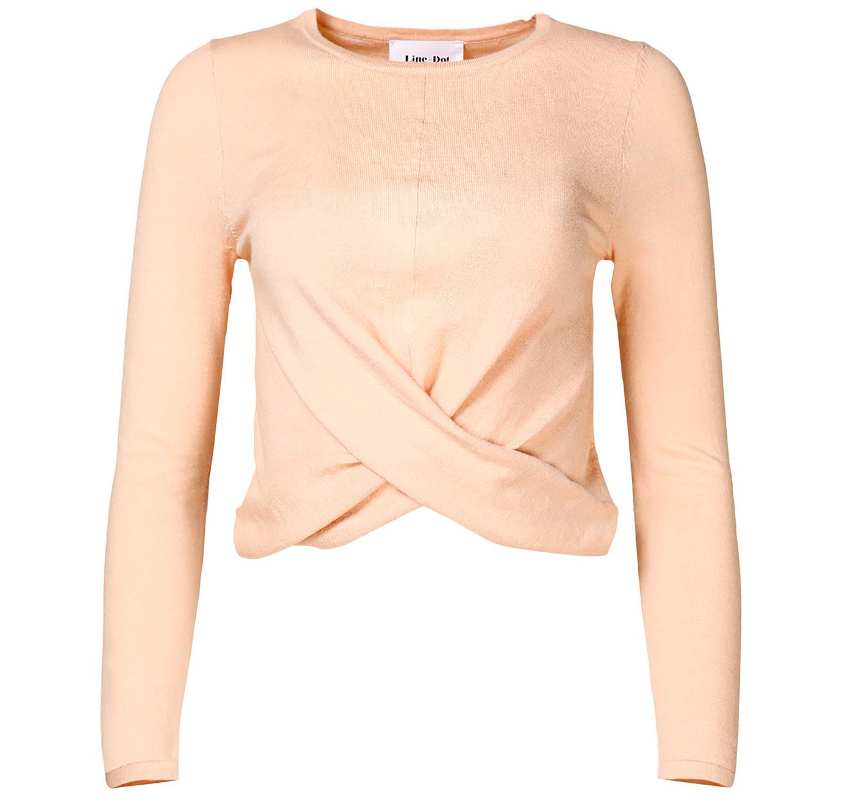 soft pink wrap crop sabine sweater