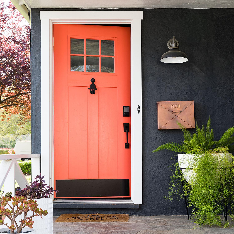 house exterior orange front door