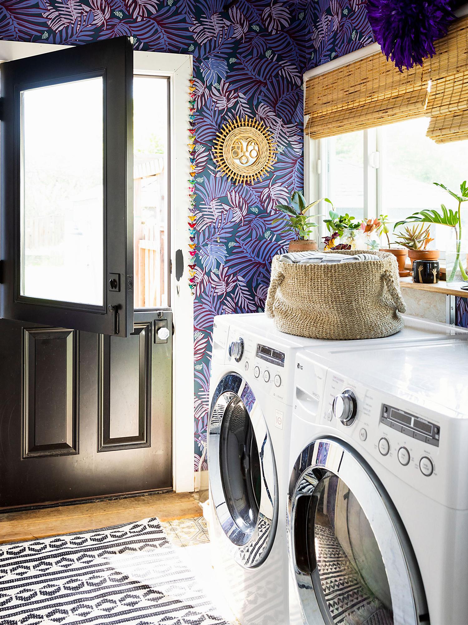 purple leaf pattern wallpaper laundry room