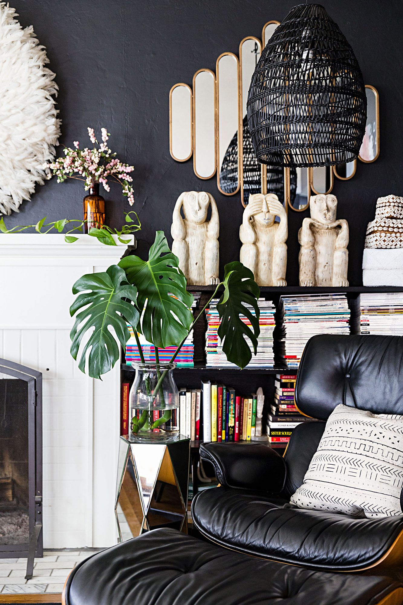 monkey statues in living room