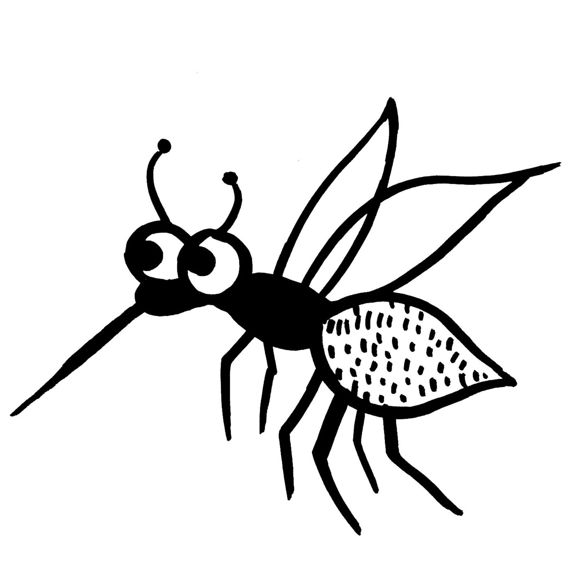 black and white illustration of mosquito
