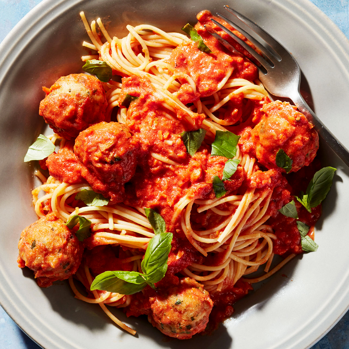 Spaghetti with Chicken Parm Meatballs