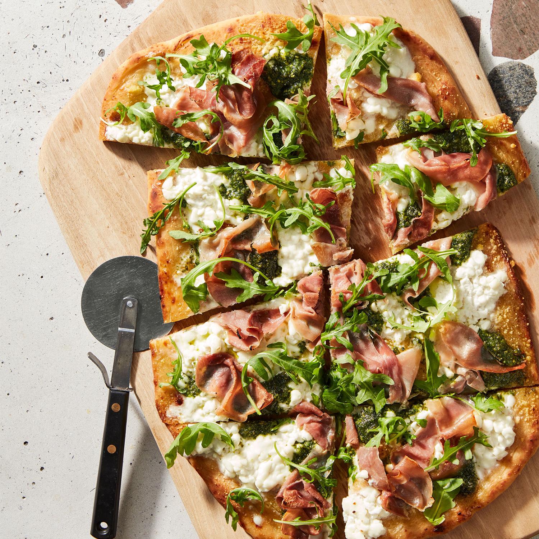 Prosciutto, Pesto, Cottage Cheese & Arugula Pizza