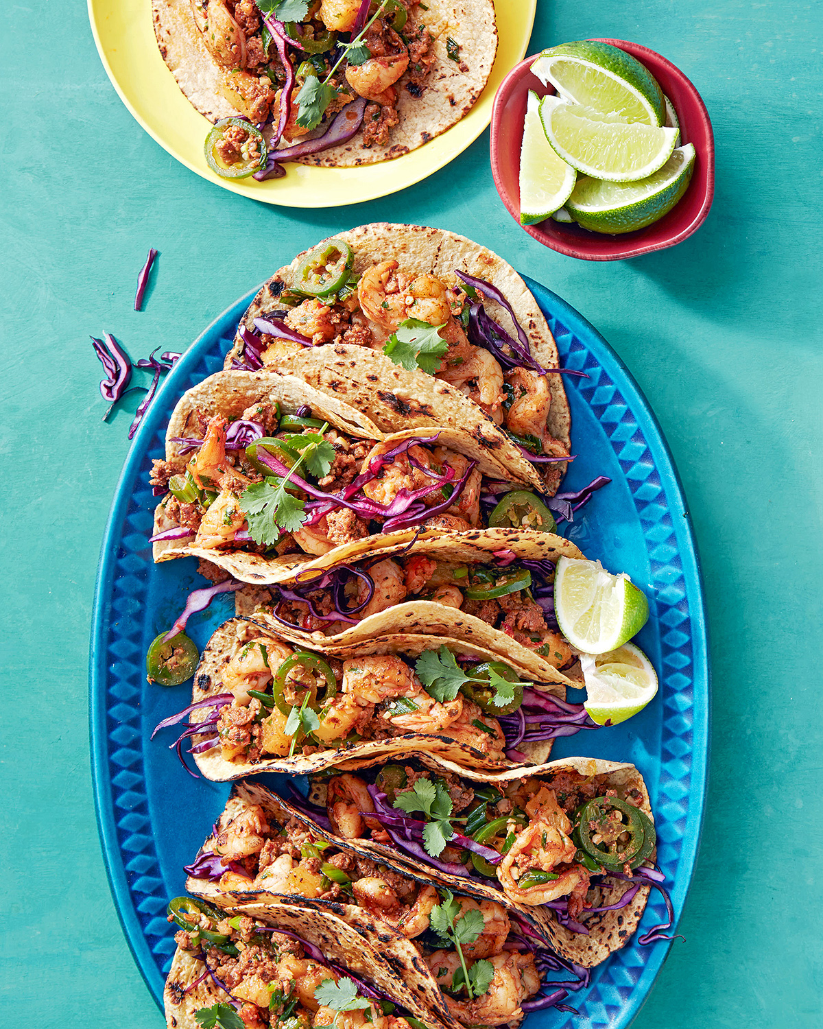 shrimp mexican chorizo pineapple tacos with tequila lime