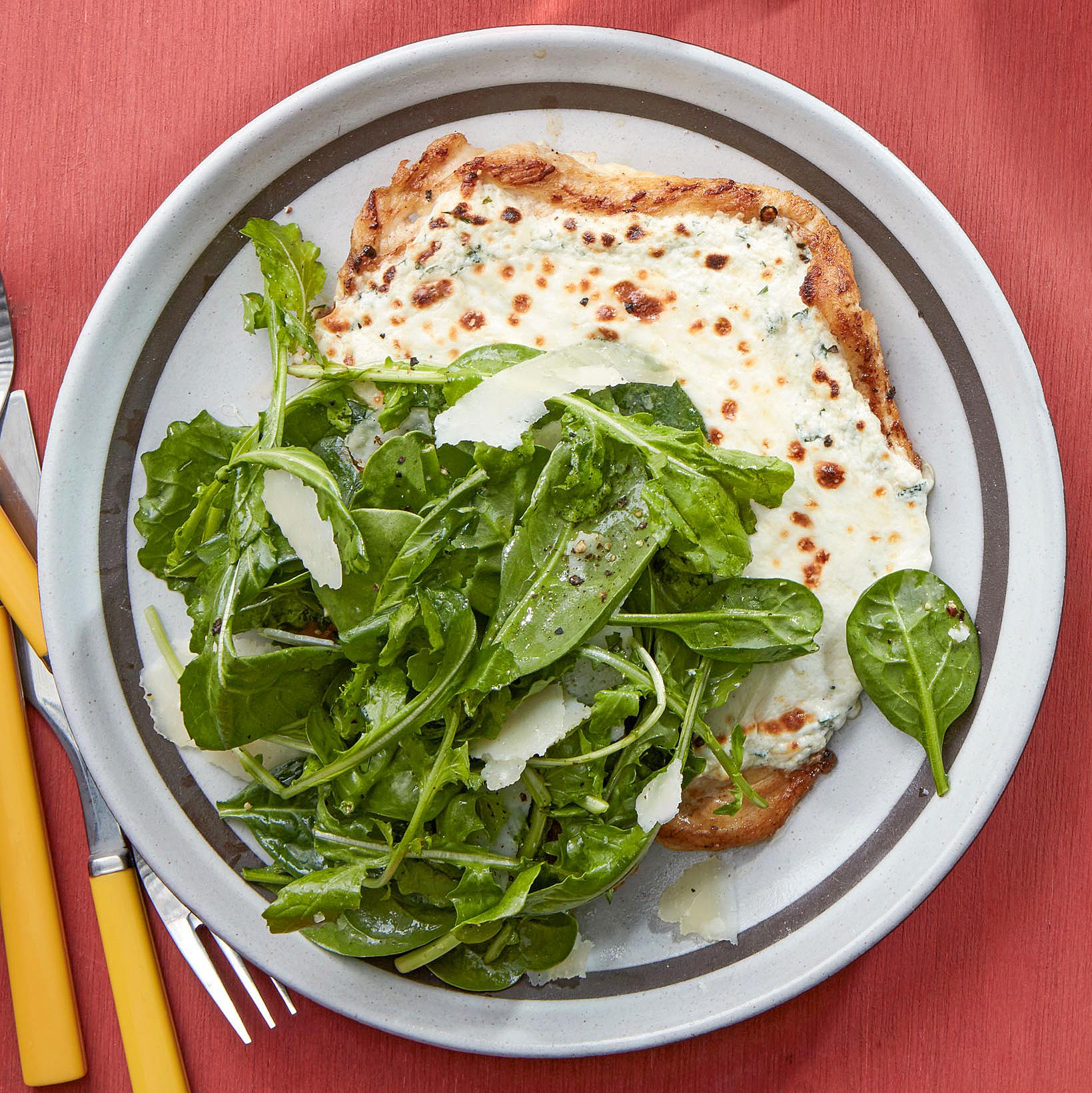 chicken paillard white pizzette with spinach arugula salad