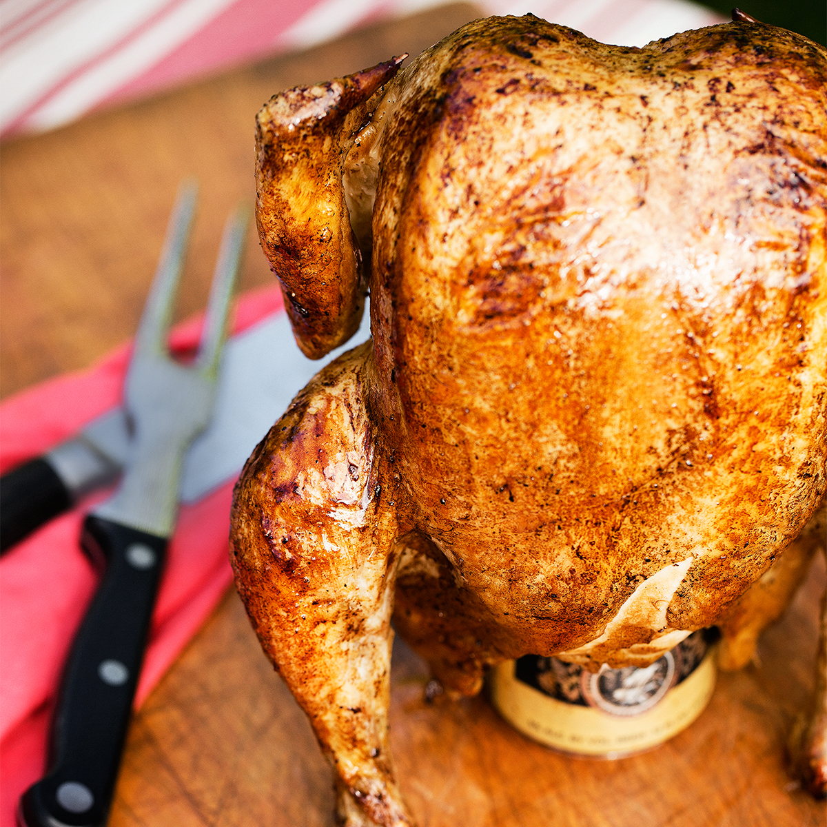 Beer-Can-Smoked Whole Chicken