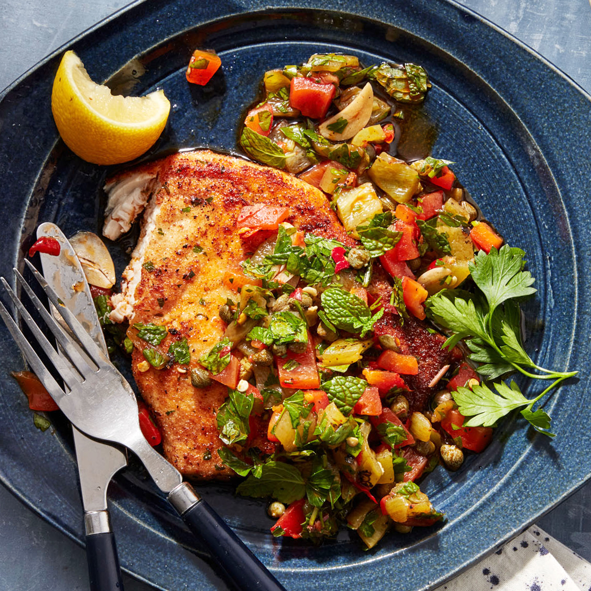 Swordfish Cutlets with Pepper Sauce
