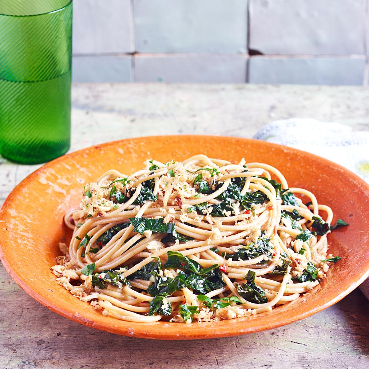 aglio e oilo with farro spaghetti kale and hazelnut breadcrumbs