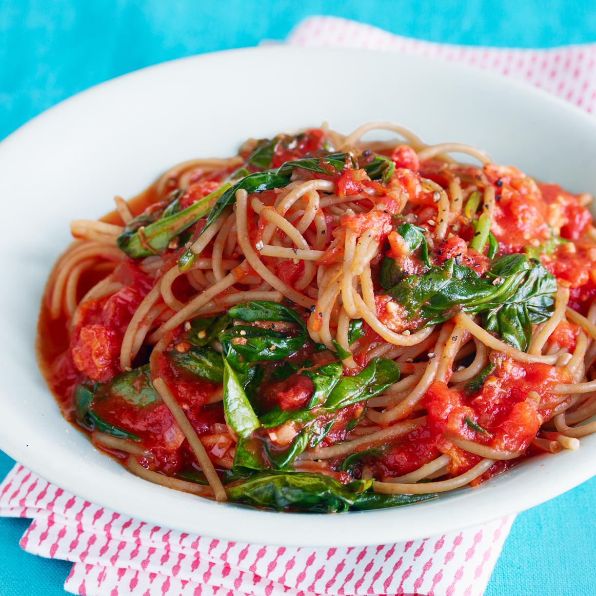 Farro Spaghetti with Buttery Tomato Sauce & Farm Spinach