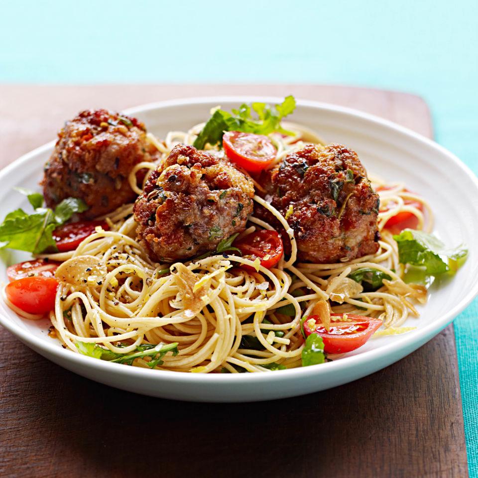 Lemon-Garlic Spaghetti with Sausage Meatballs