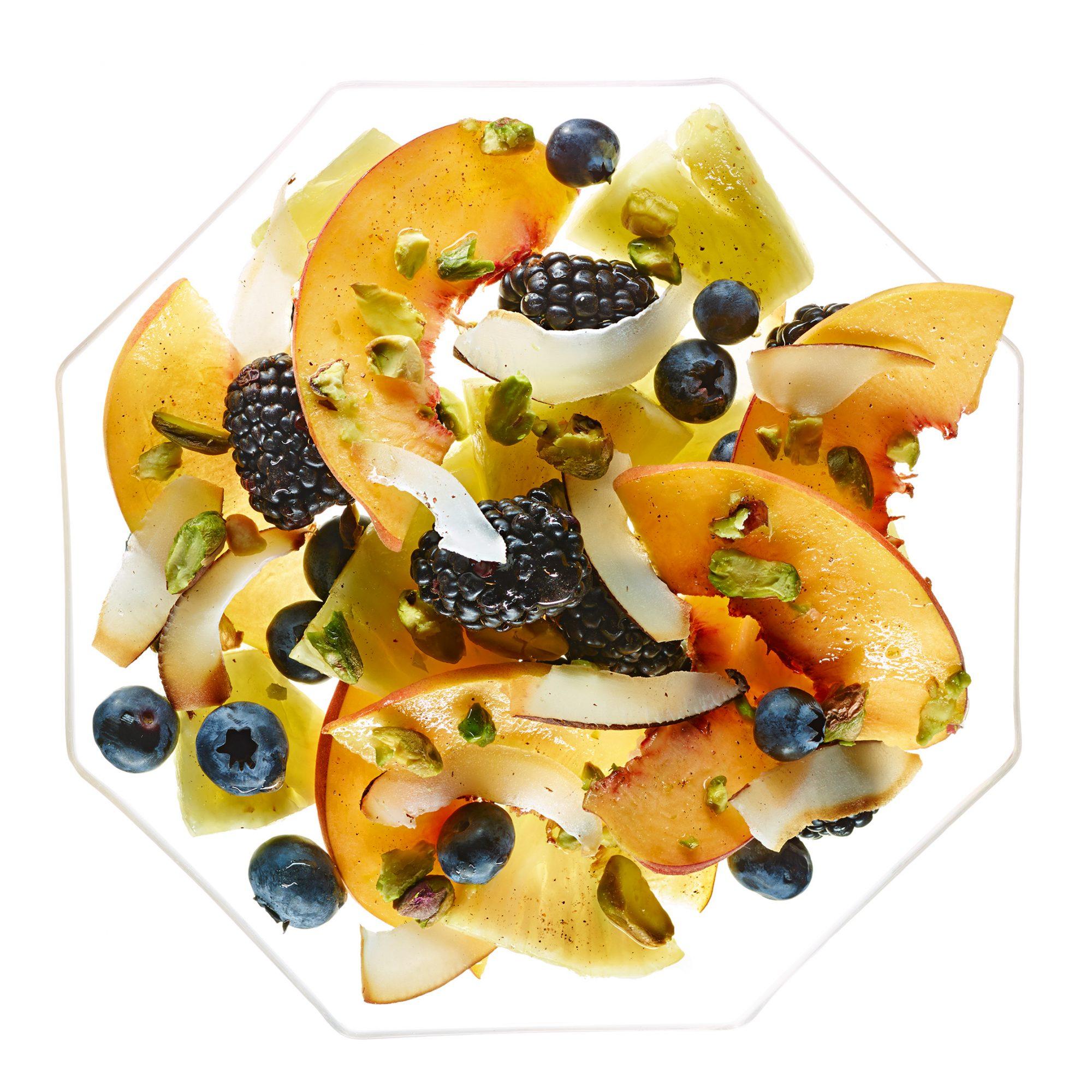 Berry-Peach Salad with Cardamom, Coconut & Pistachios