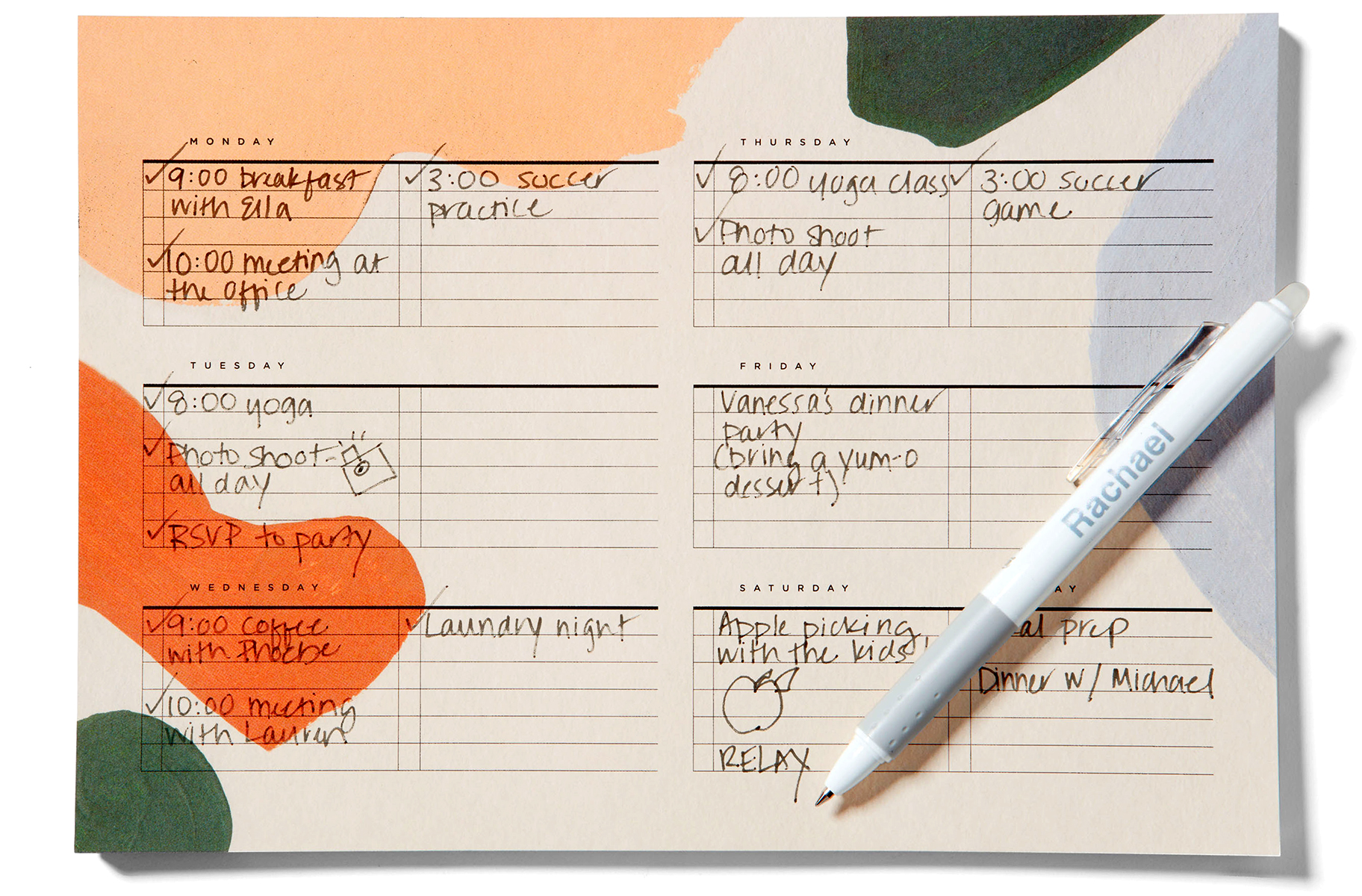 moglea weekly pad alma and frixion pen