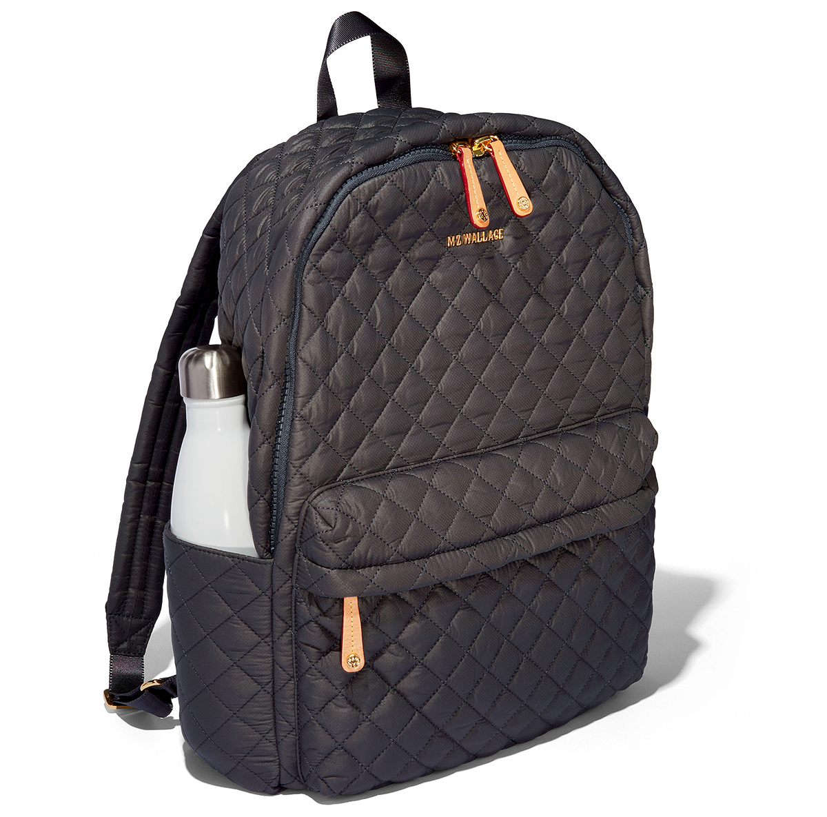 mz wallace black quilted nylon metro backpack
