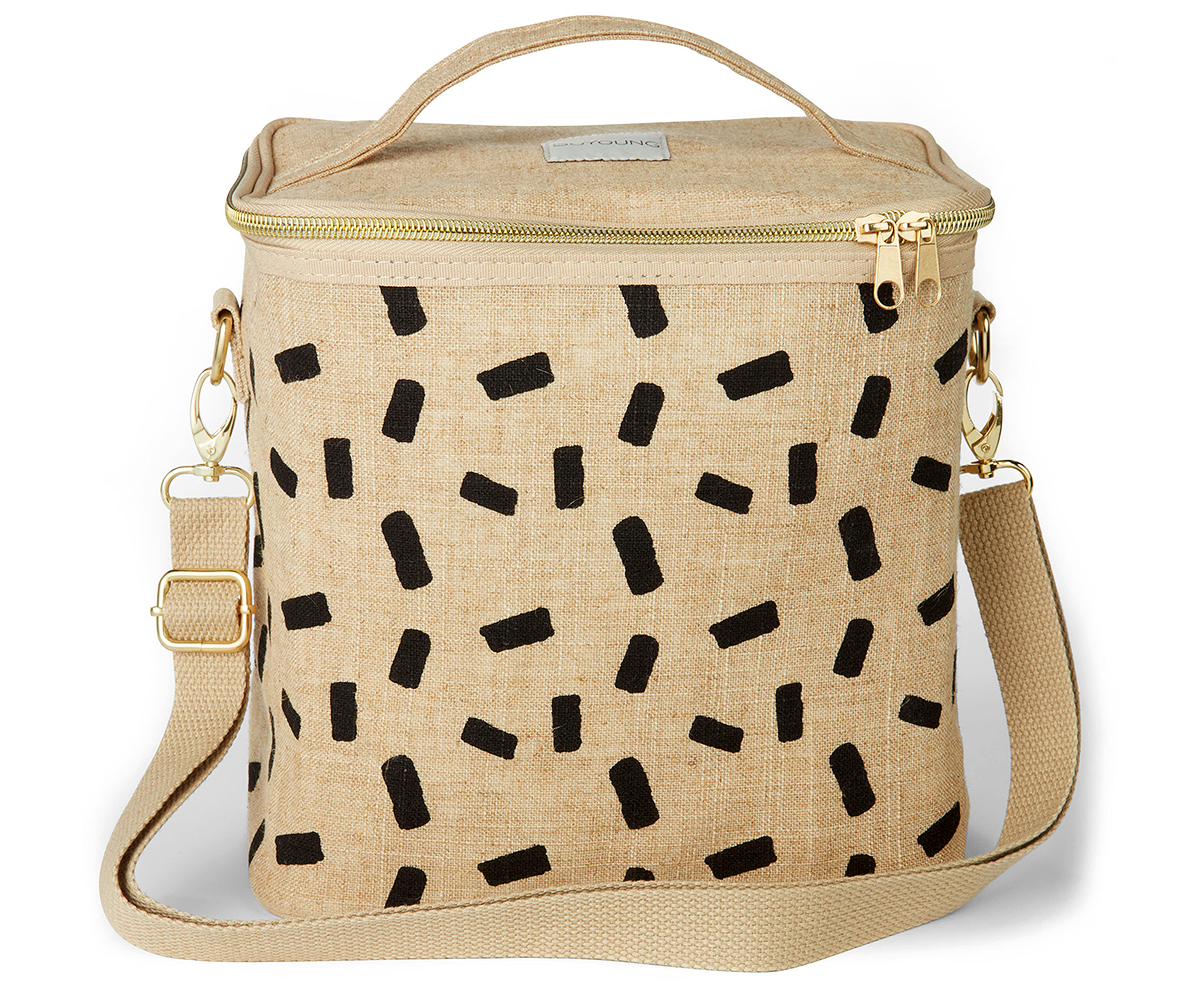 soyoung linen block lunch poche tote