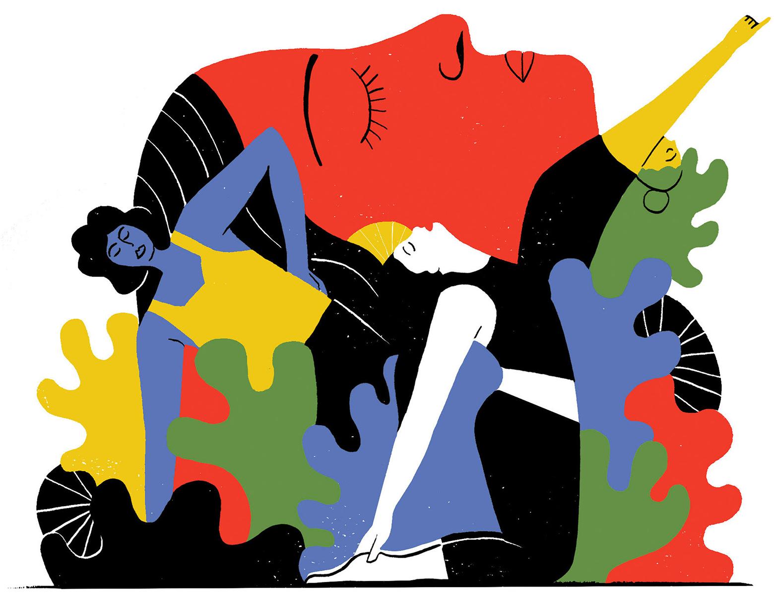 colorful health illustration of women doing yoga