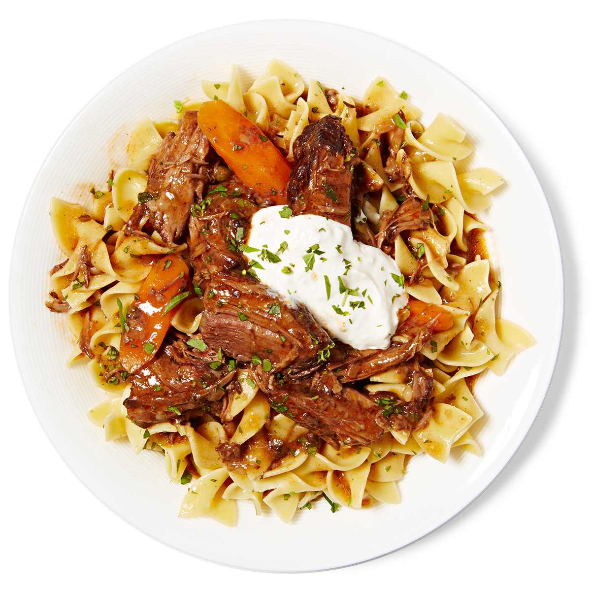 Beef Stew & Egg Noodles with Horseradish Cream