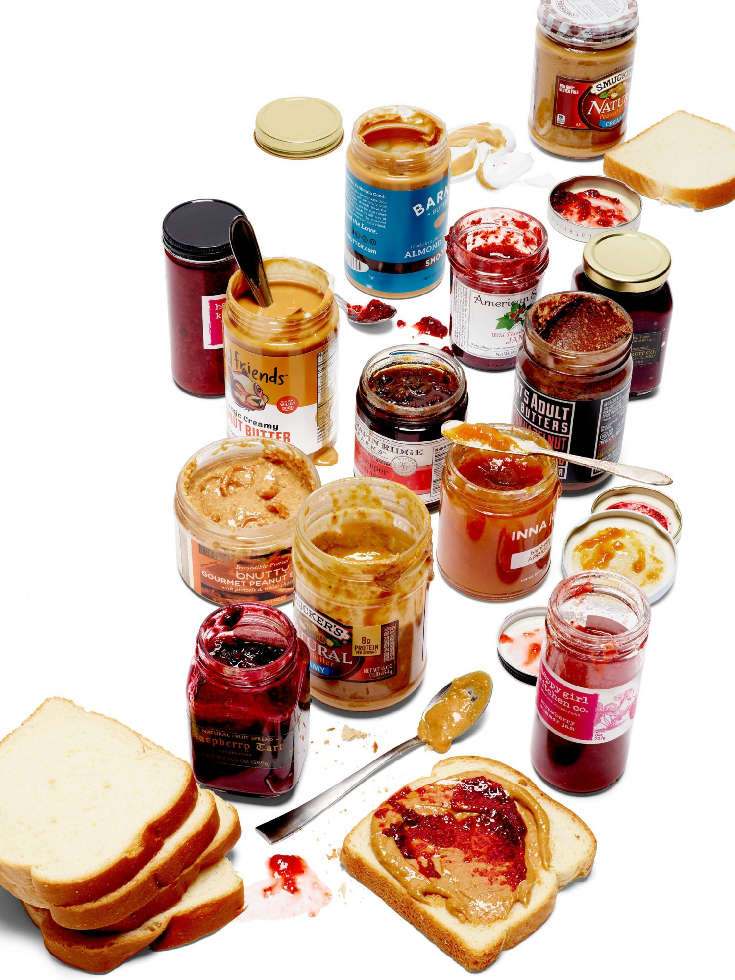 jars of peanut butter and jelly