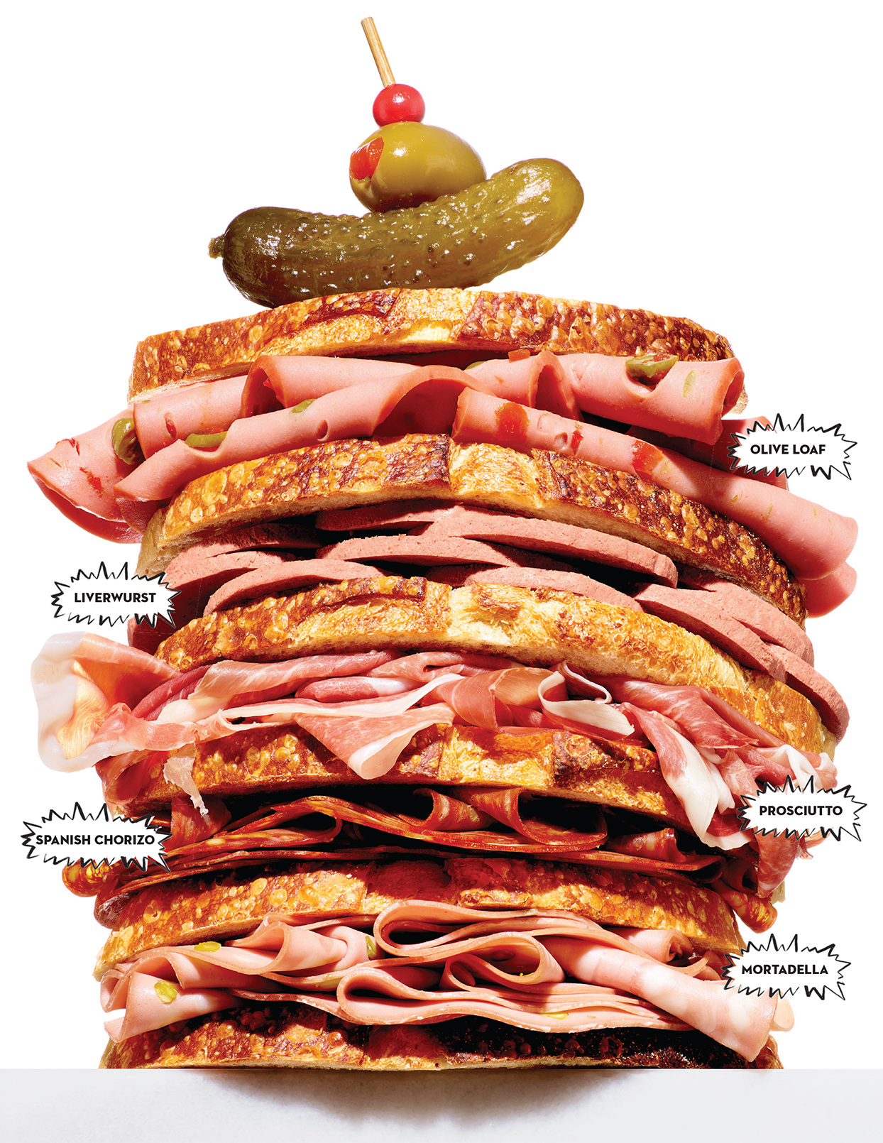 deli meat sandwich stacked high with meat names