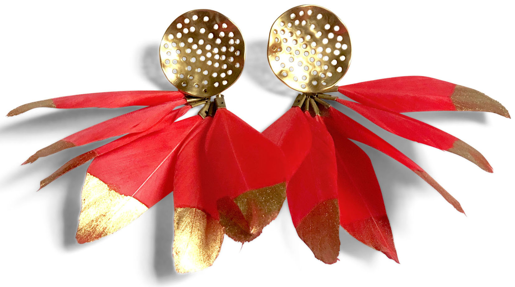 hammered gold red feather earrings