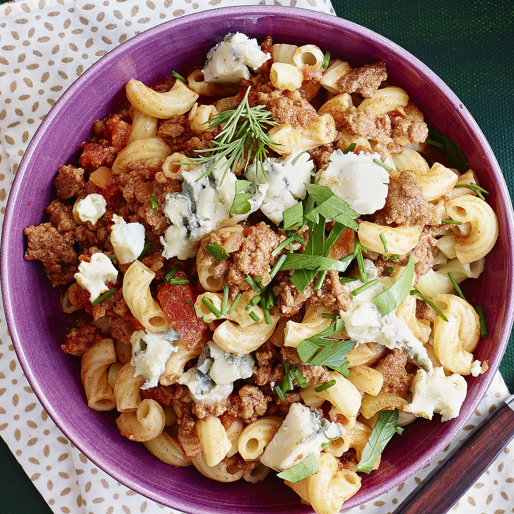 beef goulash with blue cheese