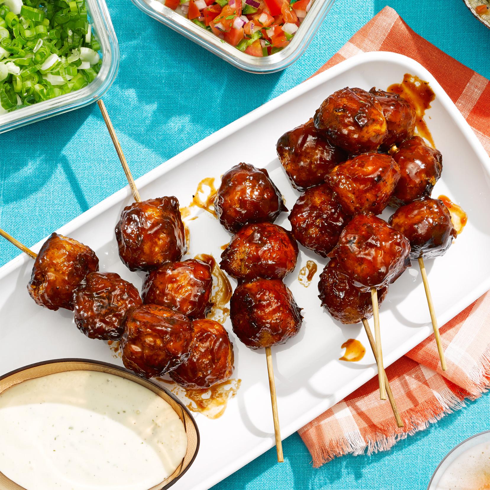 BBQ Chicken Meatball Skewers