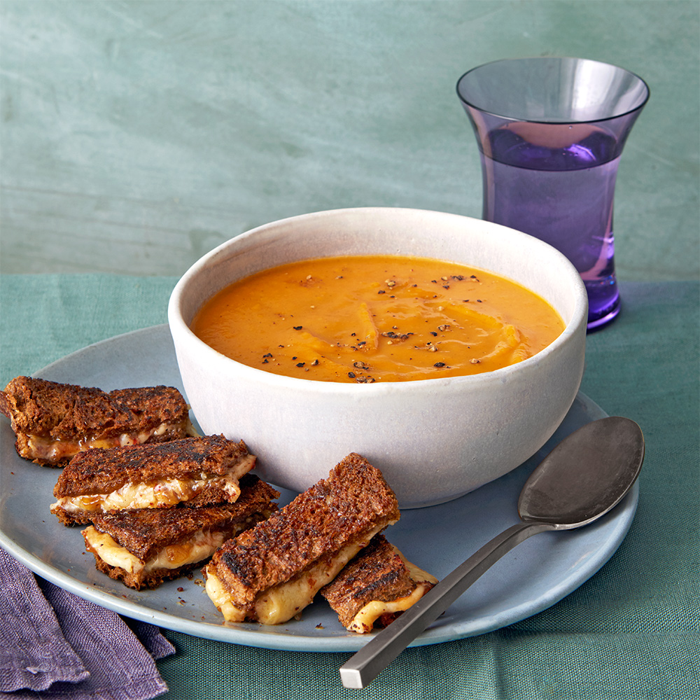 Kuri Squash Soup with Grilled Cheese Sticks