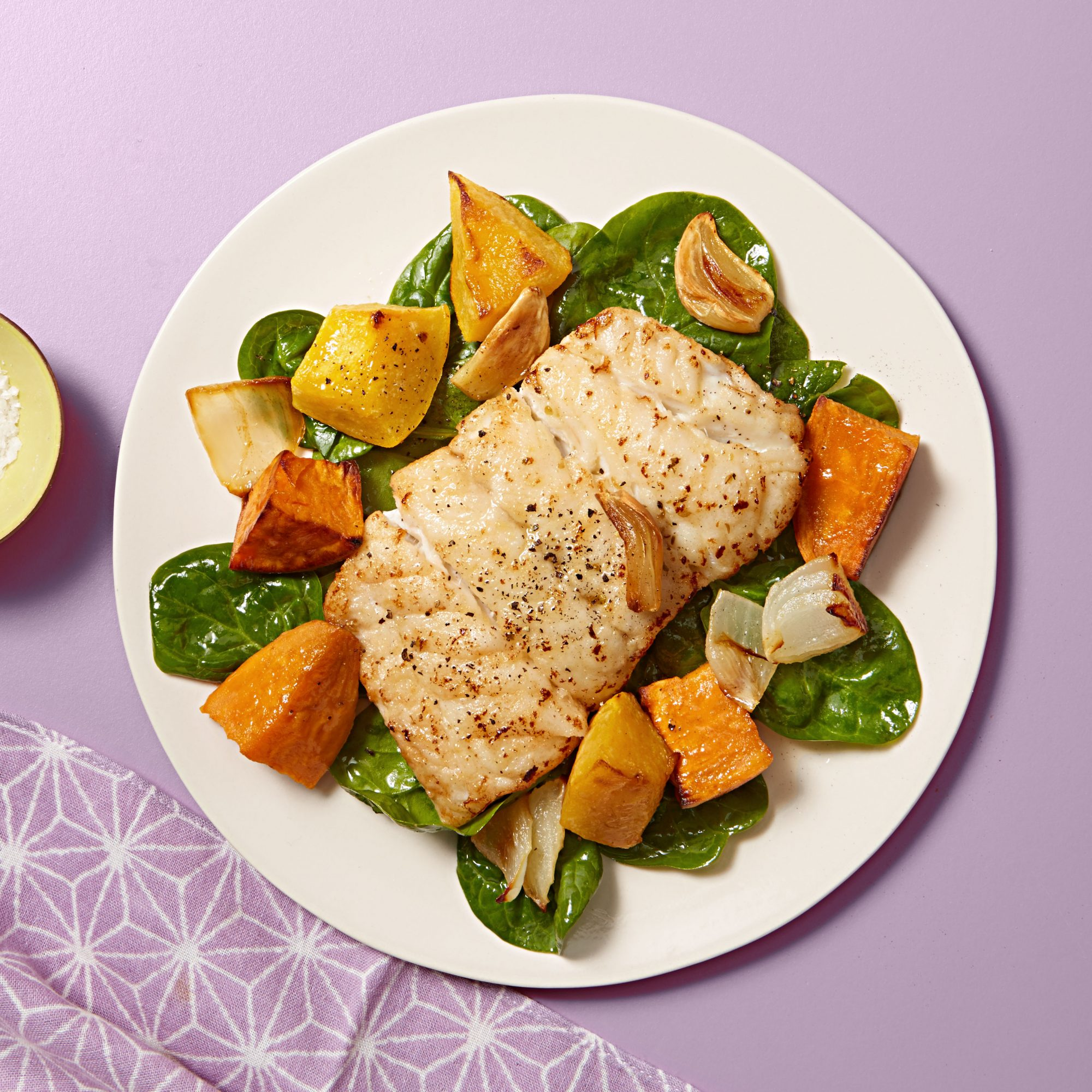 Pan-Seared Cod with Spinach & Roasted Fall Vegetables