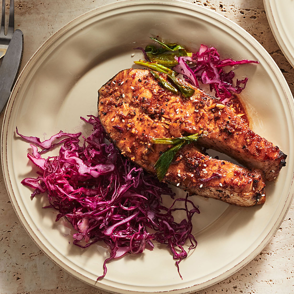 Ginger-Garlic Glazed Salmon Packet with Cabbage Slaw