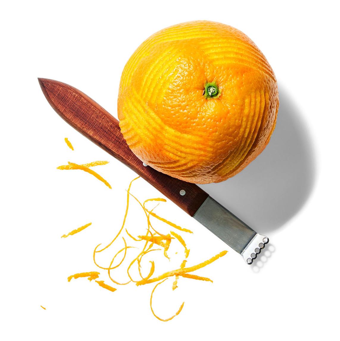 orange zest and knife