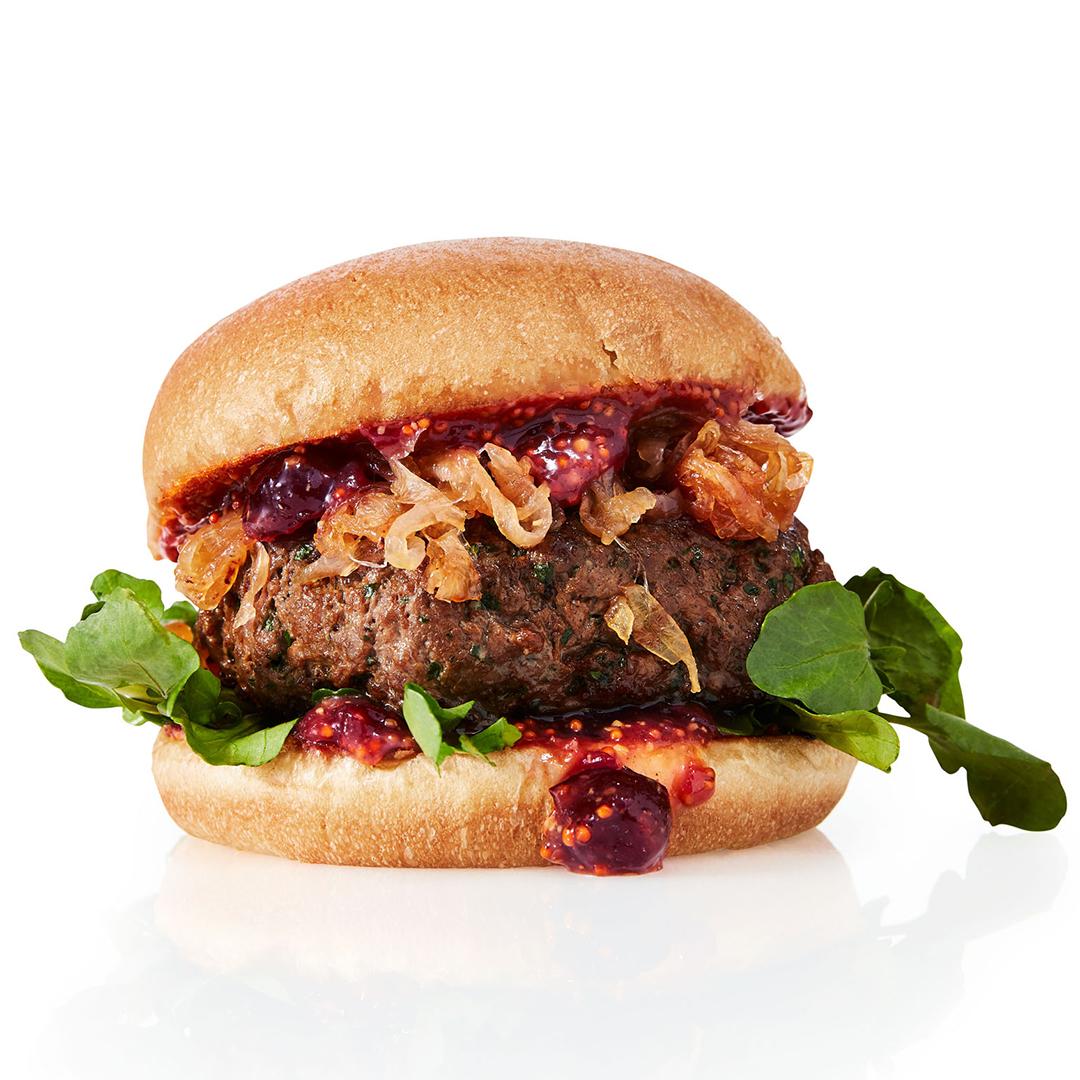 christmas burger with cranberry sauce
