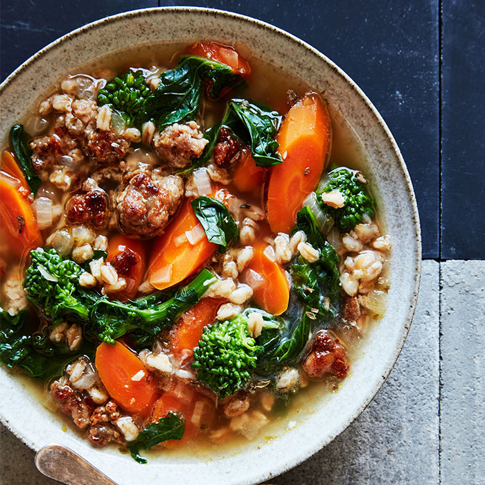 farro soup with italian sausage and broccolini