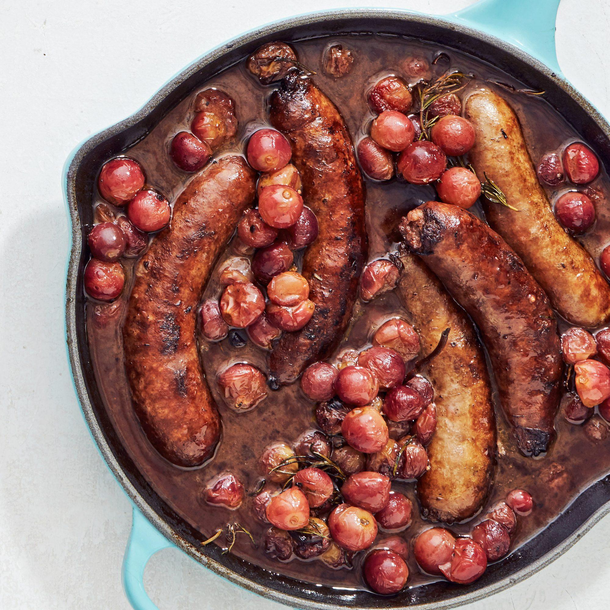 roast sausages grapes