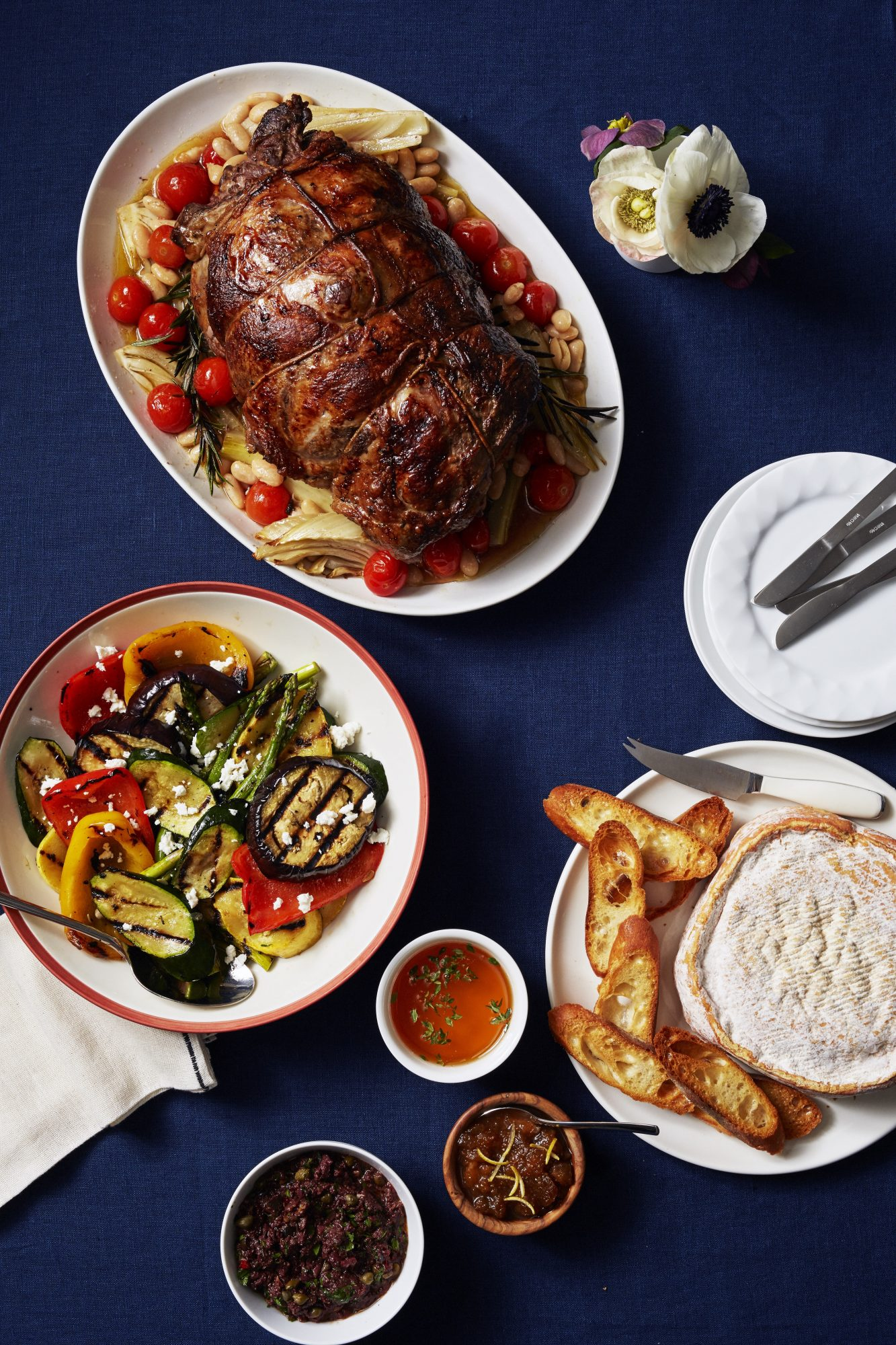 Roasted Leg of Lamb with Fennel, Tomatoes & White Beans