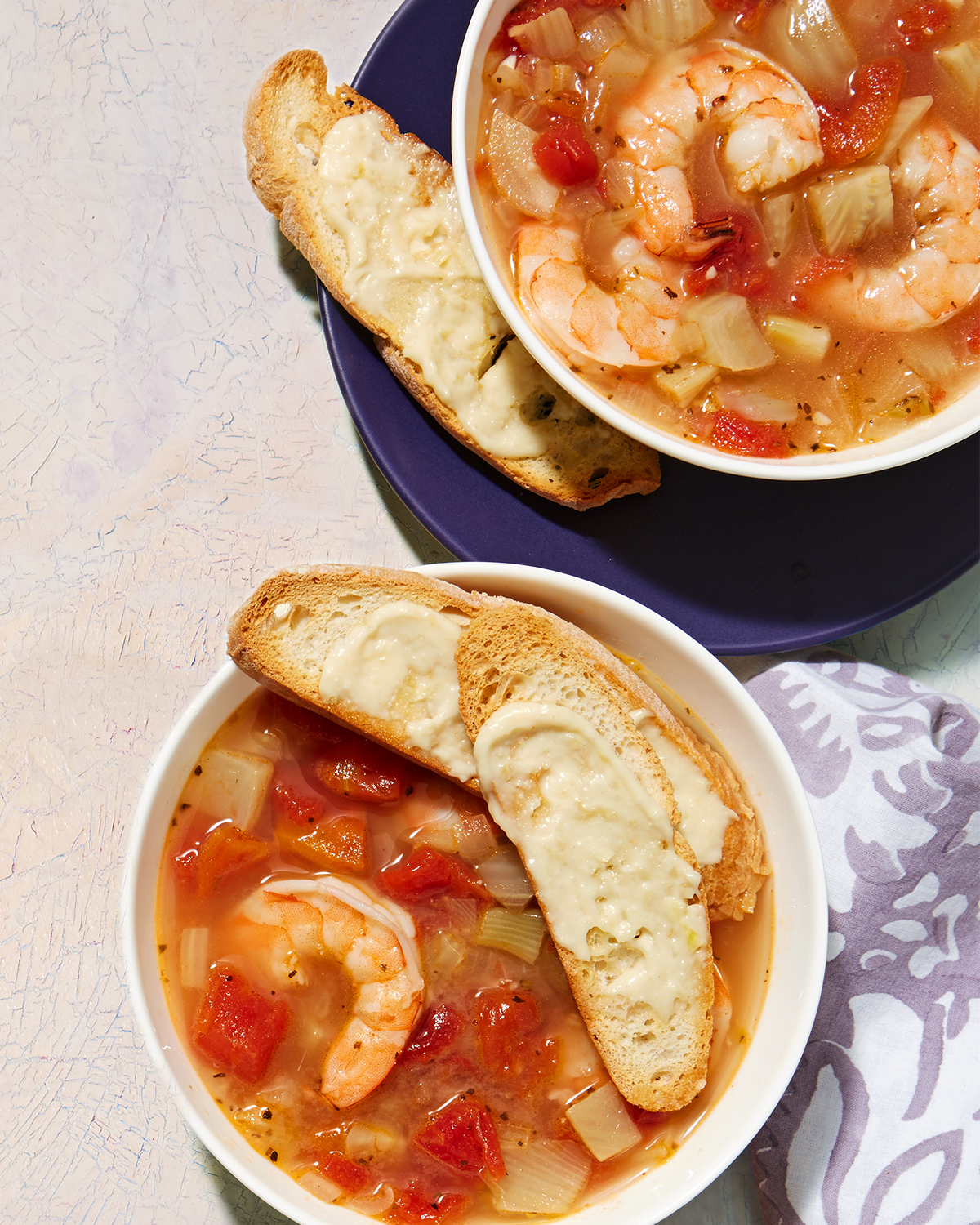 Shrimp & Fennel Soup with Garlic Toasts