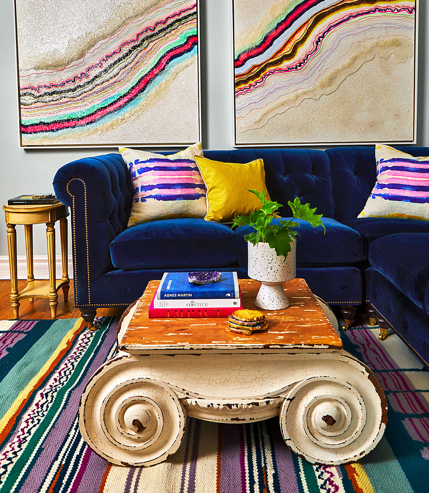 living room with vintage coffee table