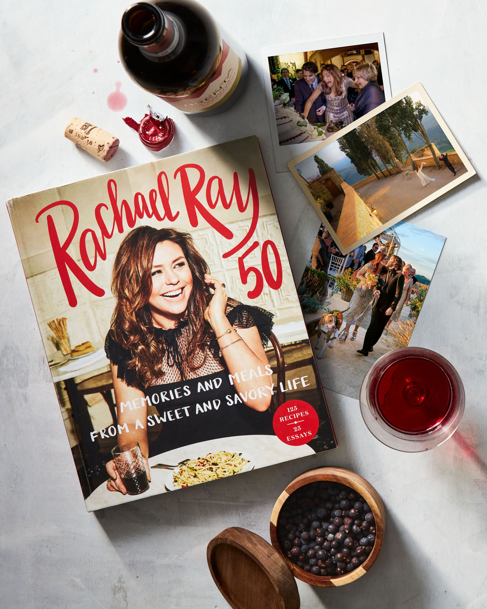 rachael ray 50 book cover and wedding photographs