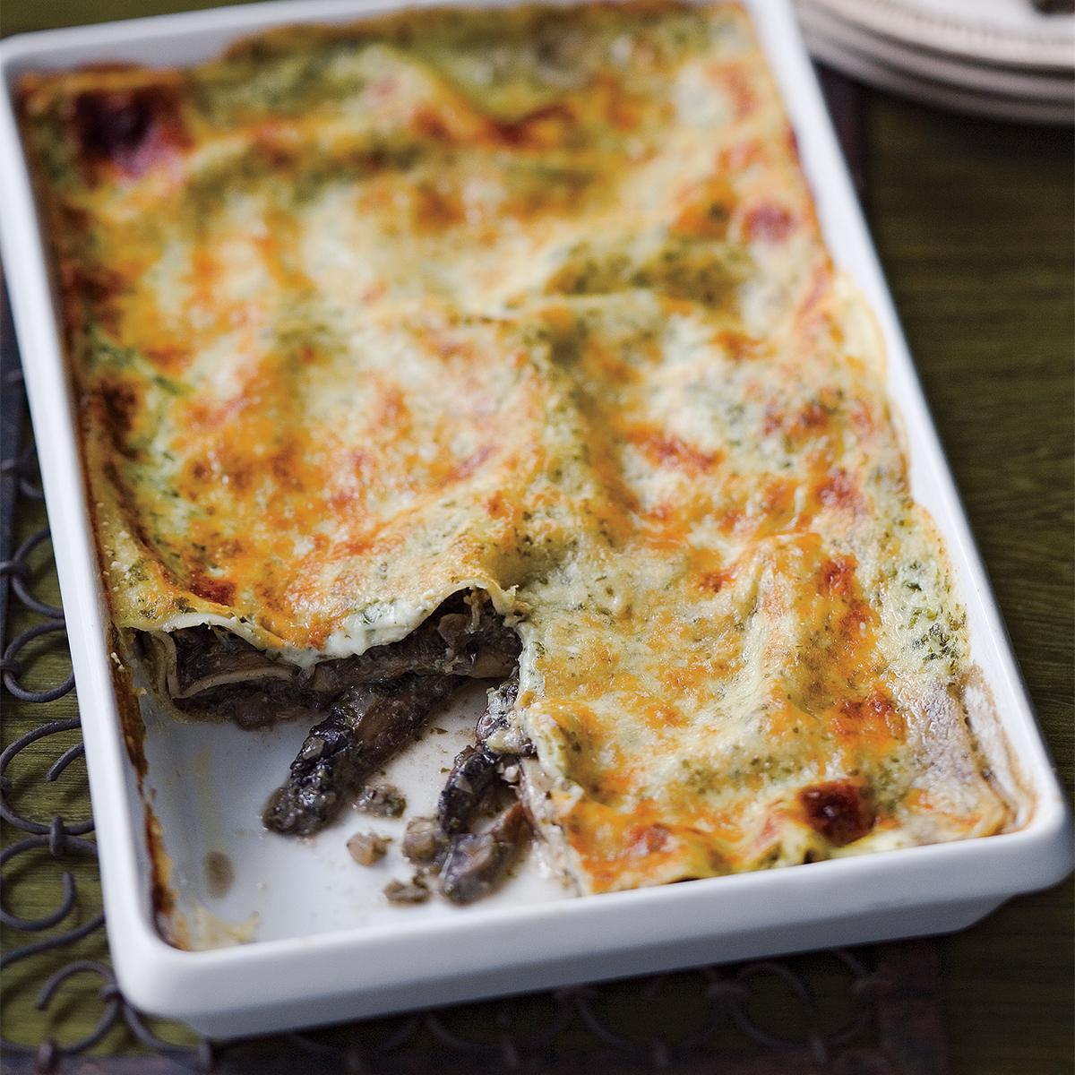 portobello lasagna with basil cream