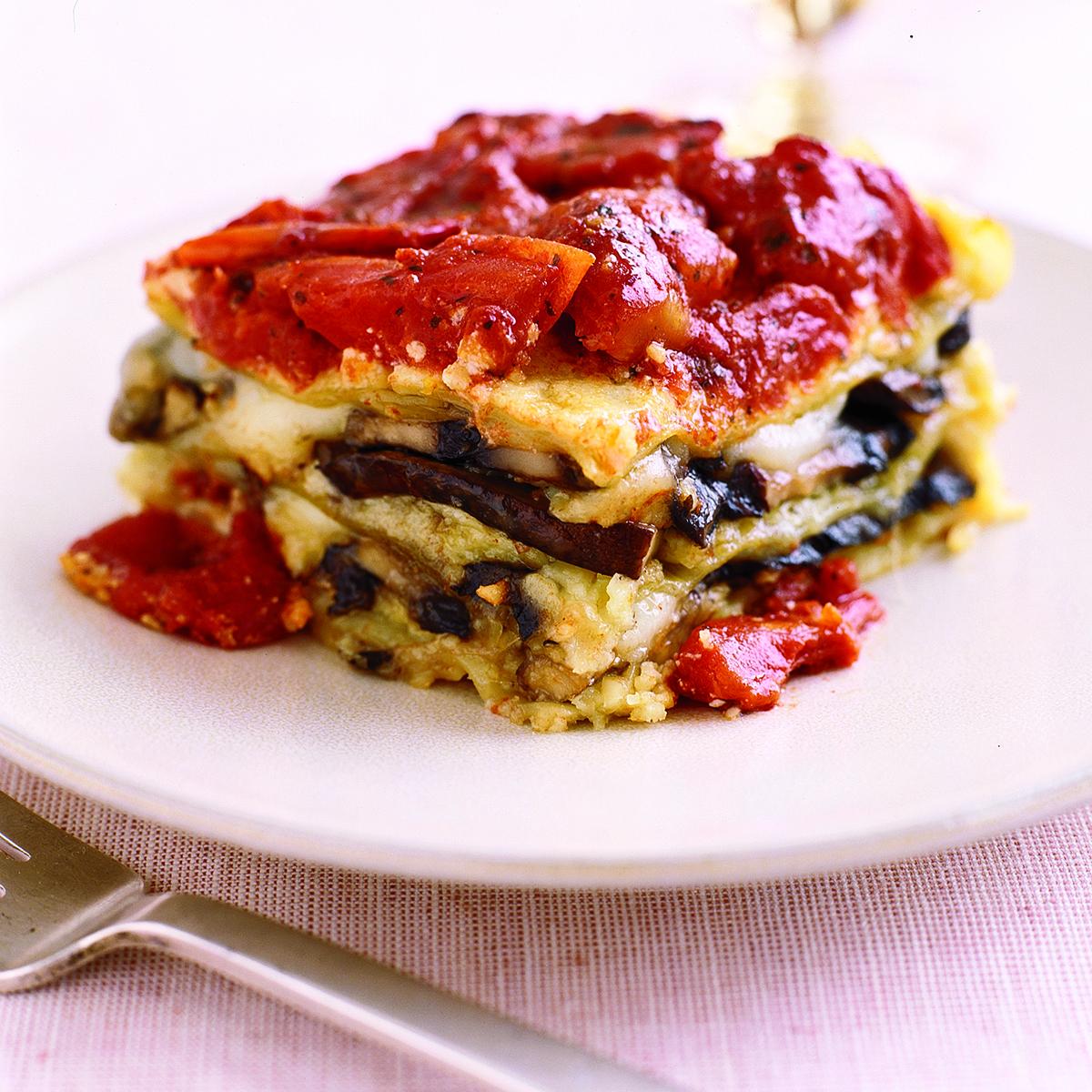 portobello mushroom and almond pesto lasagna
