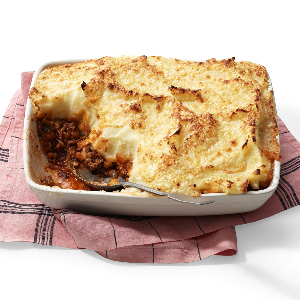 moussaka style shepherds pie