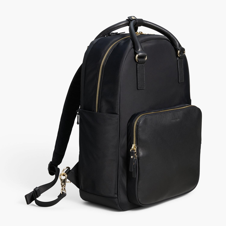 side-backpack-ROWLEDGE-nylon-black-gold-lavendar-backpack-lo-and-sons
