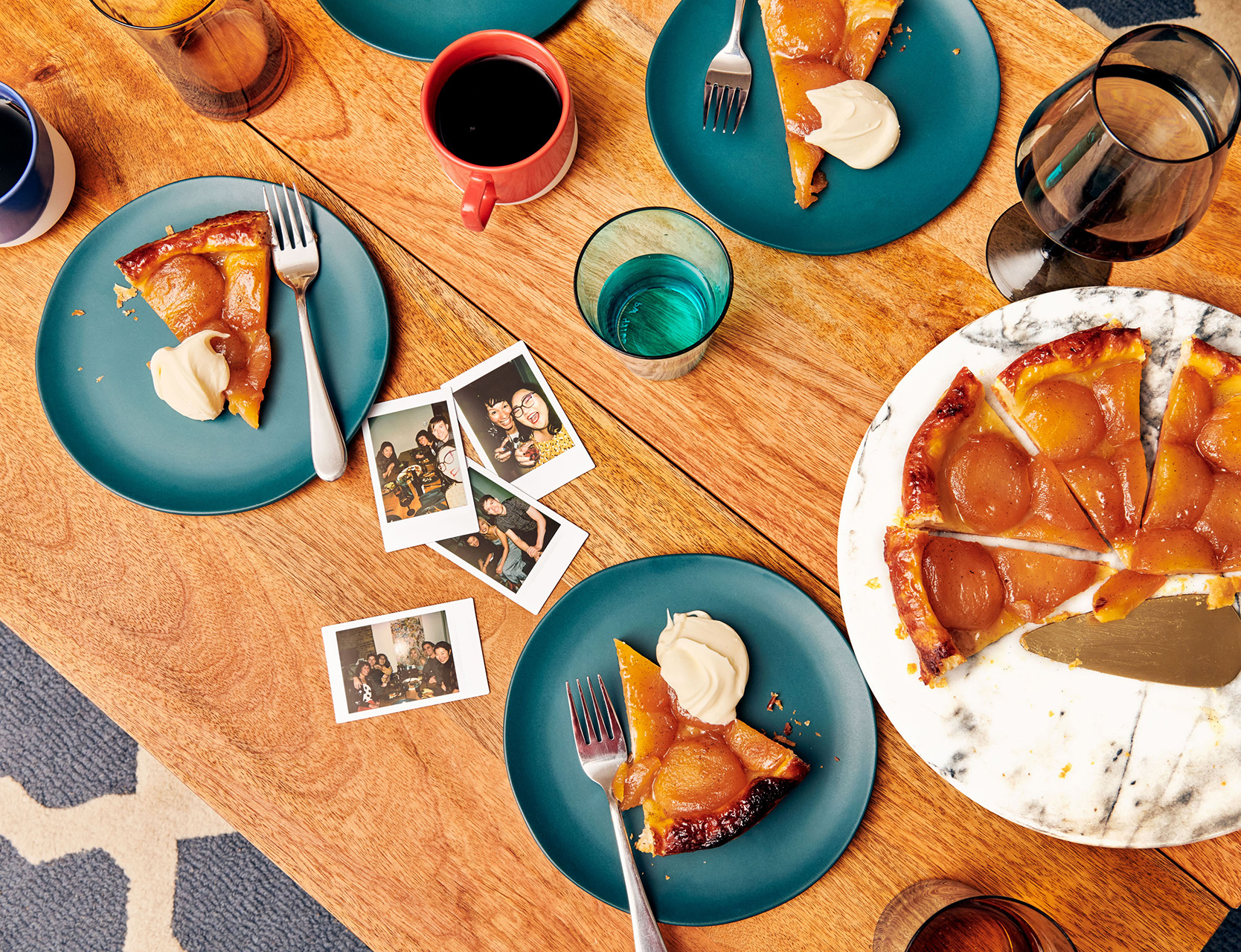 desserts and polaroids on table