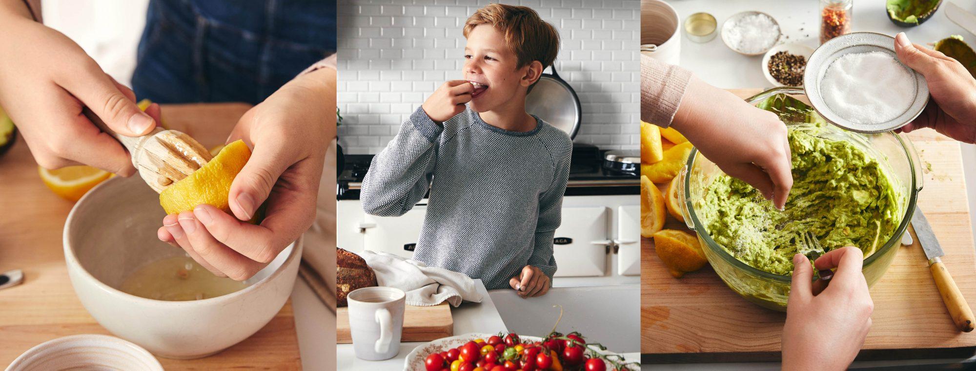 lemon juicing kid with tomato guac mash