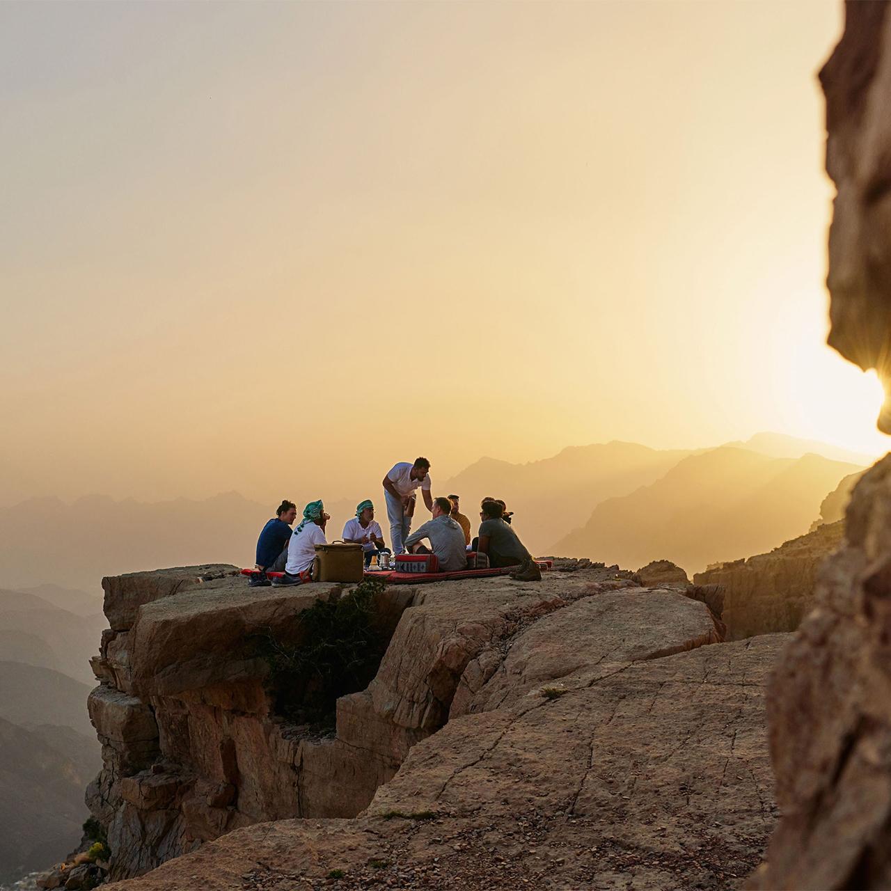 mountain dinner in a desert in Oman